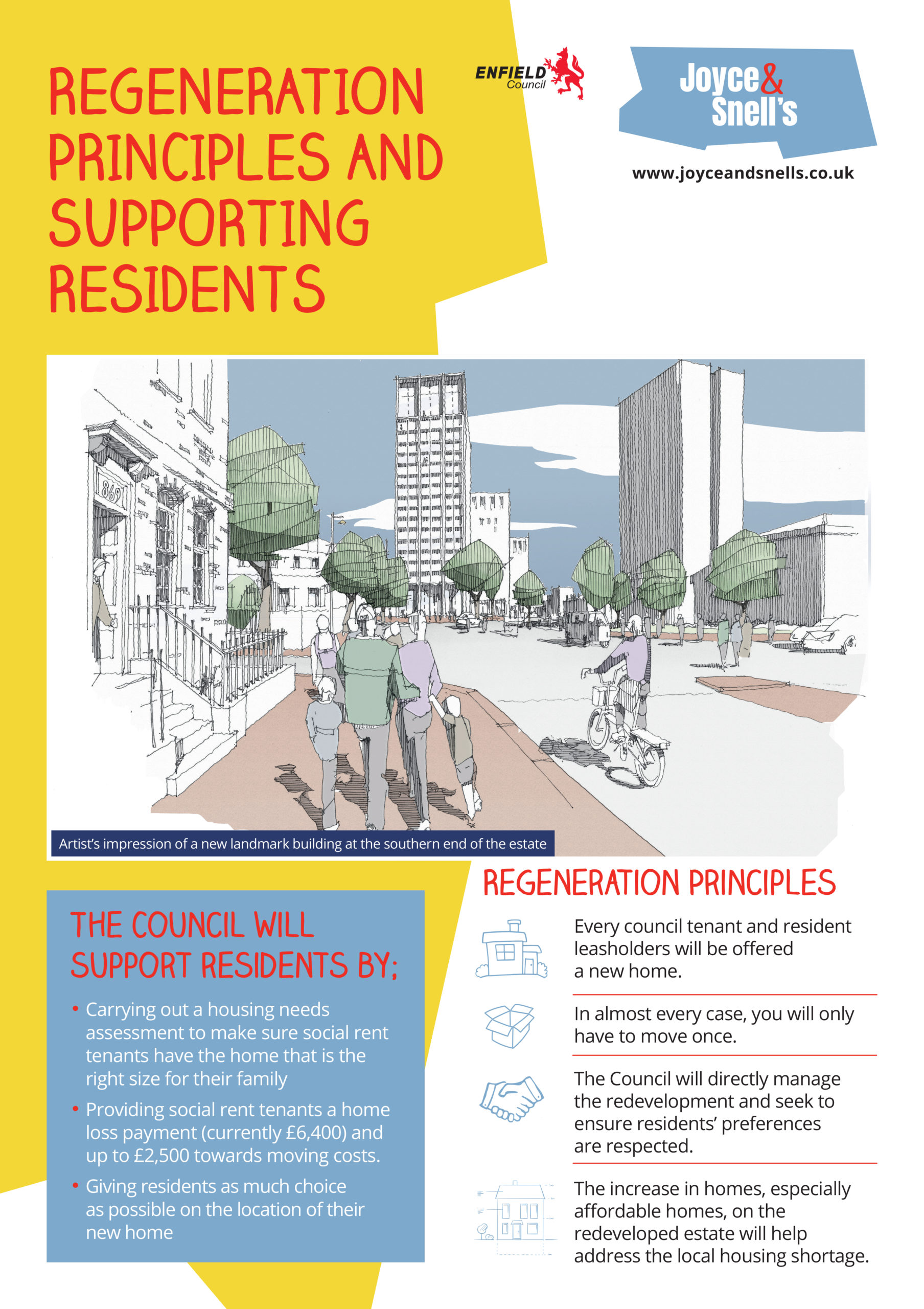 Joyce & Snells Exhibition Board 3 - Regeneration principles and supporting residents